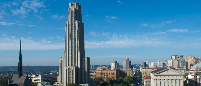 The Cathedral of Learning and tops of other campus buildings